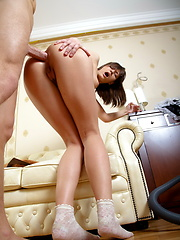 Her french maid outfit drives him crazy