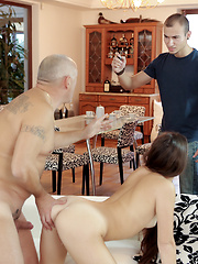 Aroused babe let BF's handsome dad stretch her all over sofa