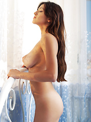 Spiritual young girl who has dark hair and large breasts is so comfortable and so beautiful too.