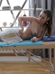 Sweet teen sucks her masseur dick and gets it inside her cunt