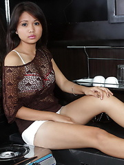 18 year old Chin flashes her yummy hairless slit