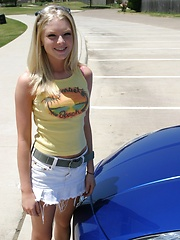Blonde teen Skye Model shows off her tight teen body by her friends car