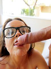 Sexy tiny nerd loves fucking gigantic cocks