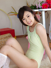 Kana Yuuki Asian in spandex outfit and socks plays with circle