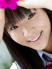 Miho Morita Asian in school uniform loves flowers and fresh air