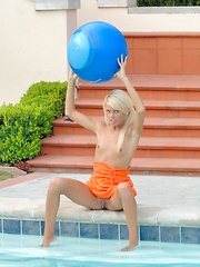 Kori gets naughty by the pool