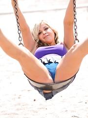 Phoebe plays in a public park