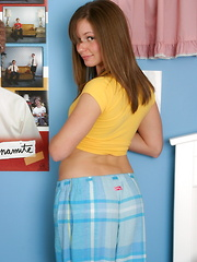 Teen cutie drops her pajama pants to show the boys her little cookie