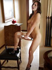 Beautiful brunette Aidra Fox cums on her magic wand
