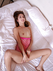 Fresh and playful Mila Jade spreads her wet pink pussy wide open