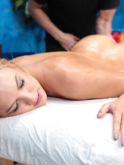 Sweet blonde girl Cosima is seduced and fucked hard by her massage therapist